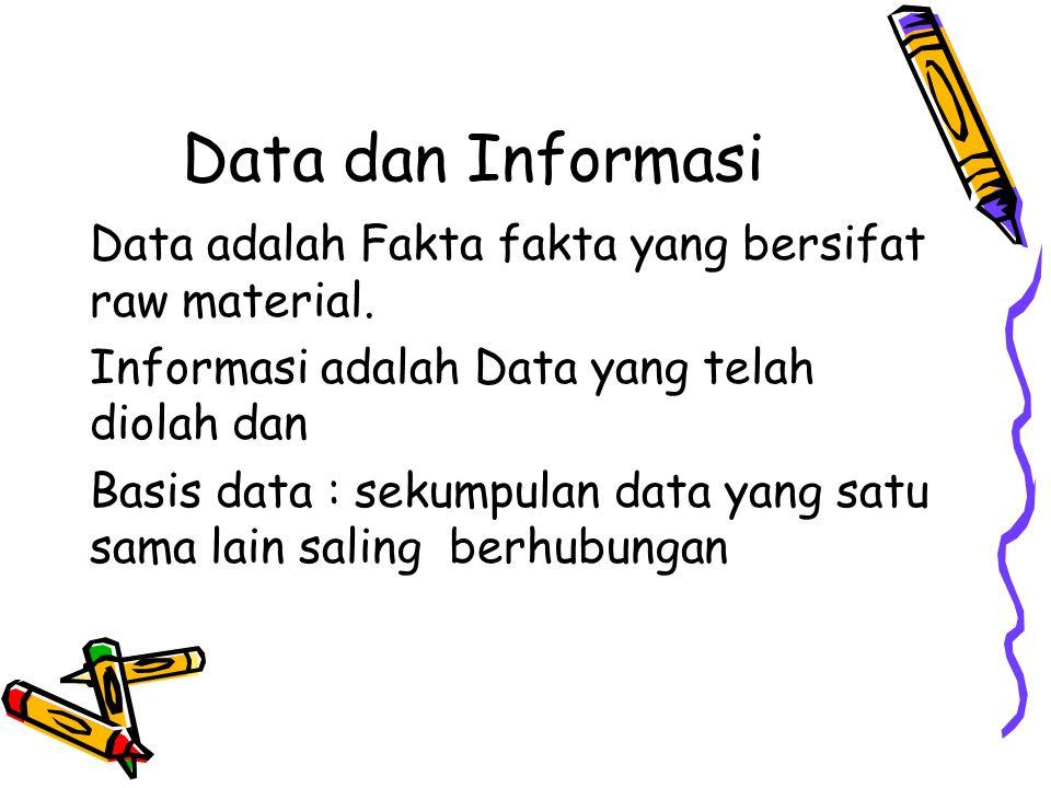 Data dan Informasi Data adalah Fakta fakta yang bersifat raw material.