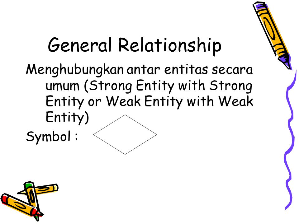 General Relationship Menghubungkan antar entitas secara umum (Strong Entity with Strong Entity or Weak Entity with Weak Entity)