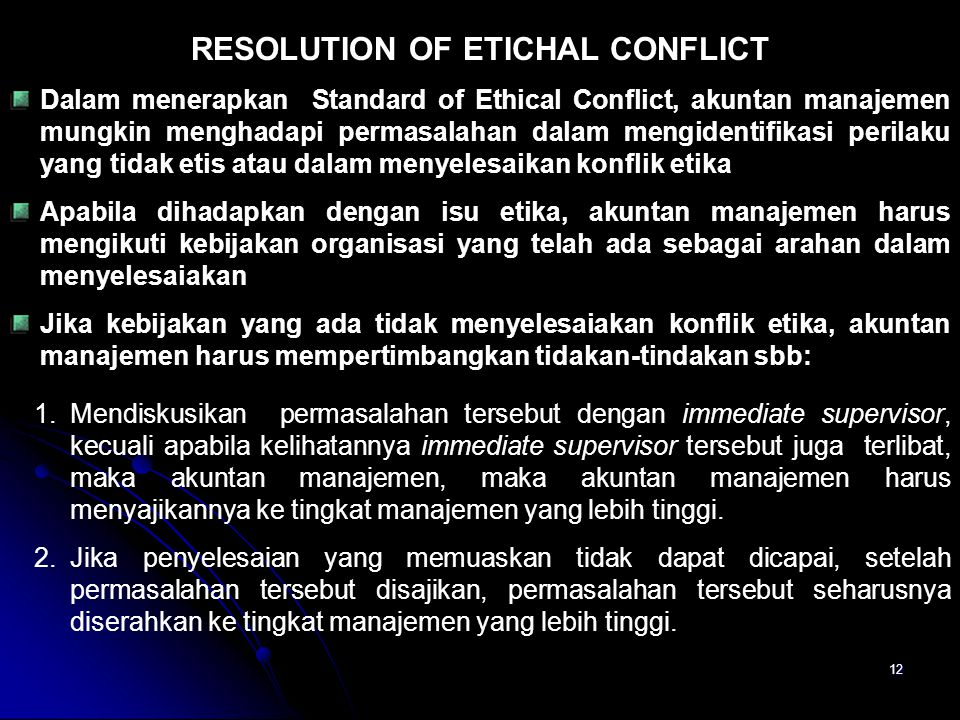 RESOLUTION OF ETICHAL CONFLICT