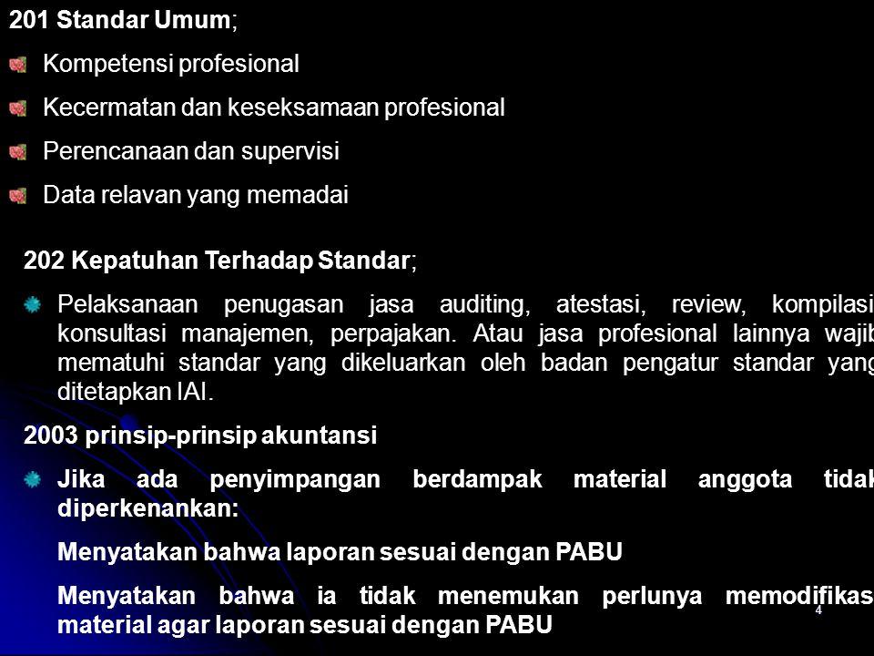201 Standar Umum; Kompetensi profesional. Kecermatan dan keseksamaan profesional. Perencanaan dan supervisi.