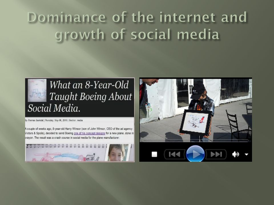 Dominance of the internet and growth of social media