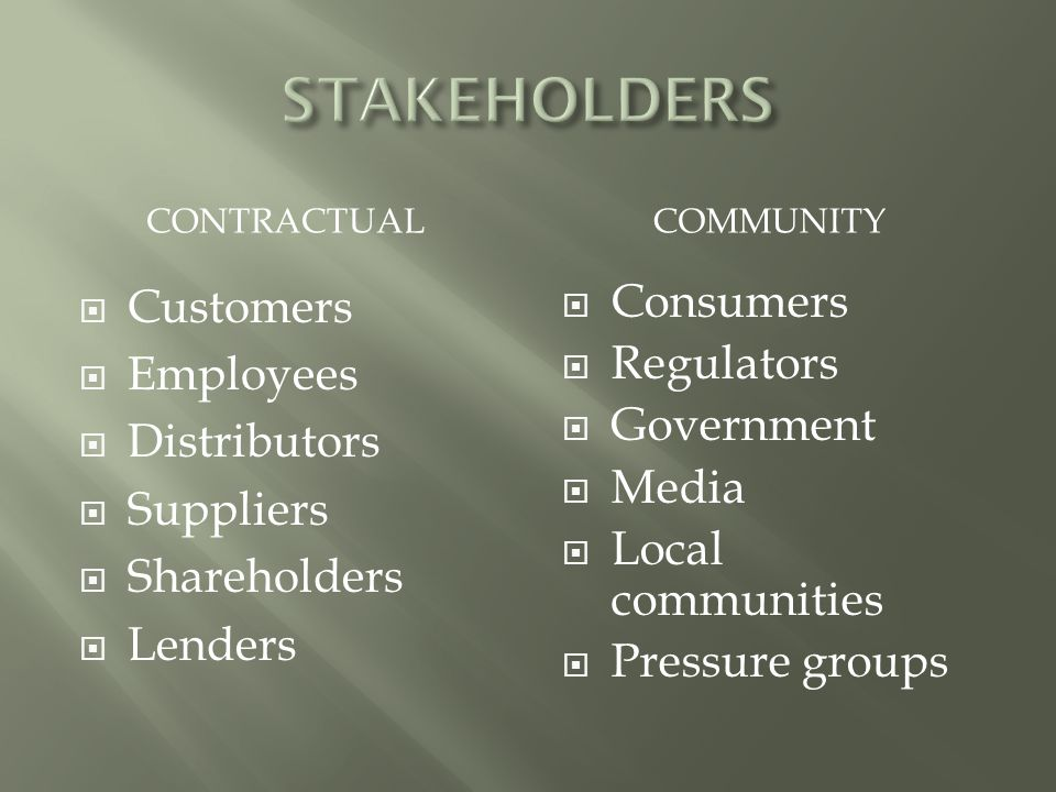 STAKEHOLDERS Customers Employees Distributors Suppliers Shareholders