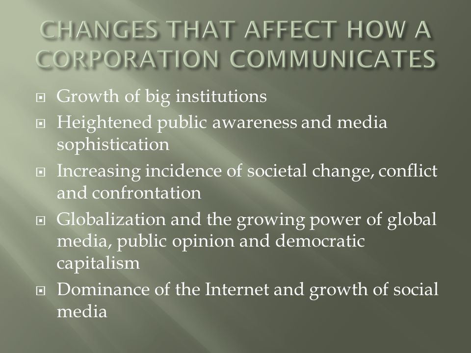 CHANGES THAT AFFECT HOW A CORPORATION COMMUNICATES