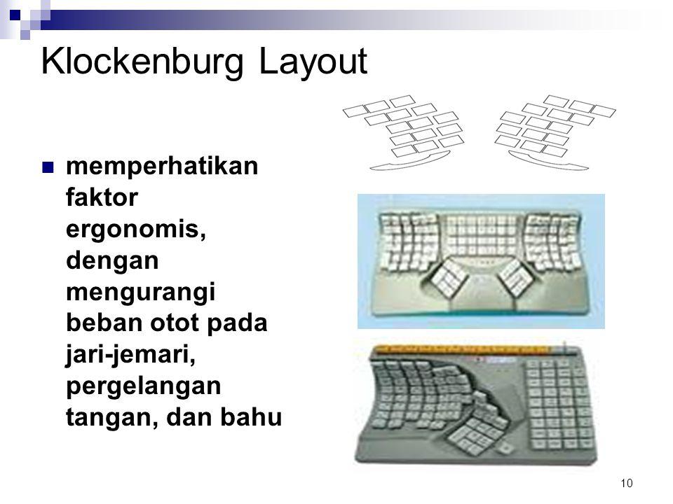 Klockenburg Layout memperhatikan faktor ergonomis, dengan mengurangi beban otot pada jari-jemari, pergelangan tangan, dan bahu.