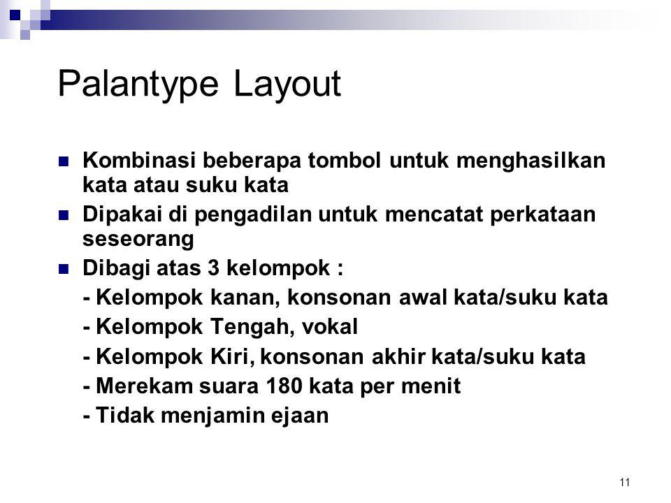 Palantype Layout Kombinasi beberapa tombol untuk menghasilkan kata atau suku kata. Dipakai di pengadilan untuk mencatat perkataan seseorang.