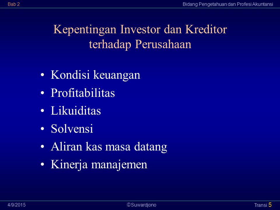 Kepentingan Investor dan Kreditor terhadap Perusahaan
