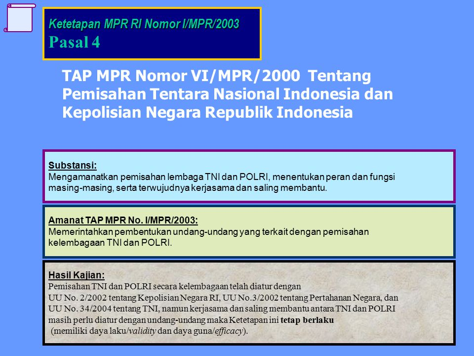 Pasal 4 TAP MPR Nomor VI/MPR/2000 Tentang