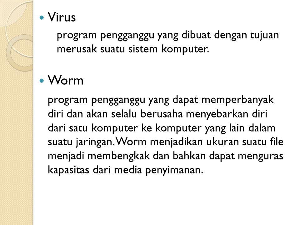 Virus program pengganggu yang dibuat dengan tujuan merusak suatu sistem komputer. Worm.