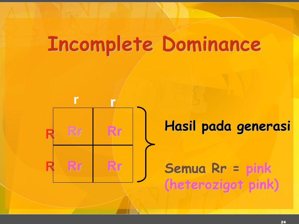 Incomplete Dominance r r Hasil pada generasi Rr R Semua Rr = pink