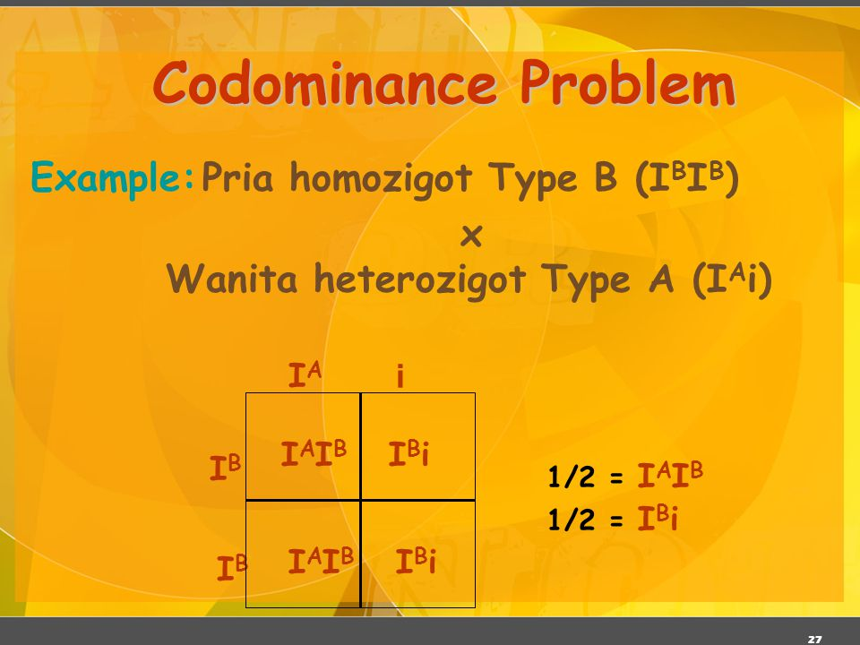 Codominance Problem Example: Pria homozigot Type B (IBIB)