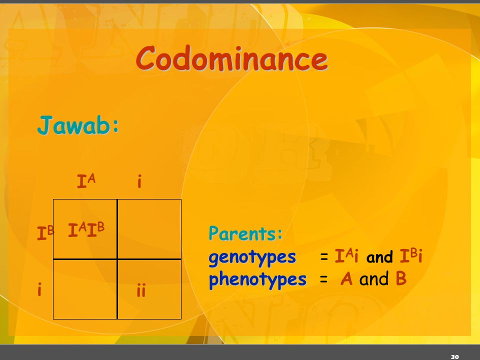 Codominance Jawab: IB IA i IAIB ii Parents: genotypes = IAi and IBi