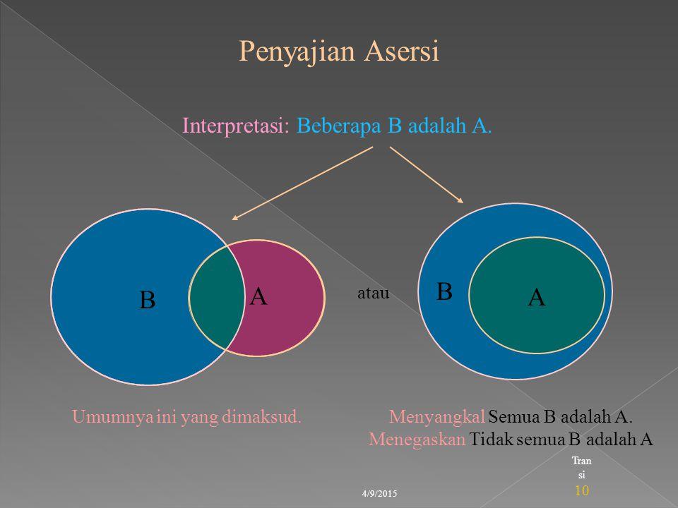 Penyajian Asersi B A A B Interpretasi: Beberapa B adalah A. atau