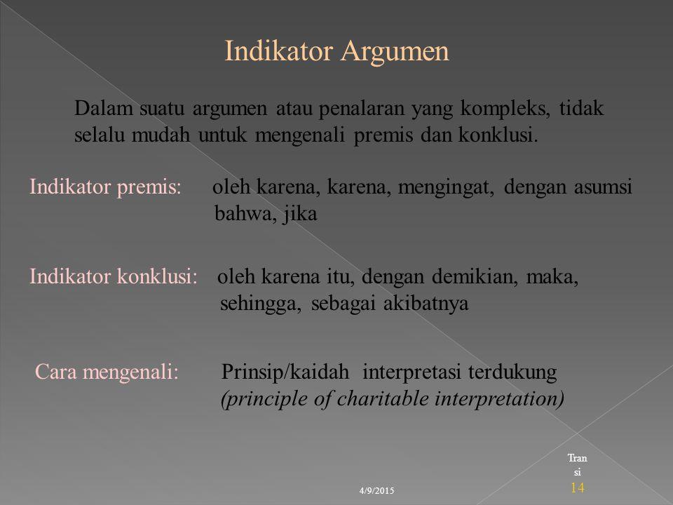 Indikator Argumen Dalam suatu argumen atau penalaran yang kompleks, tidak selalu mudah untuk mengenali premis dan konklusi.