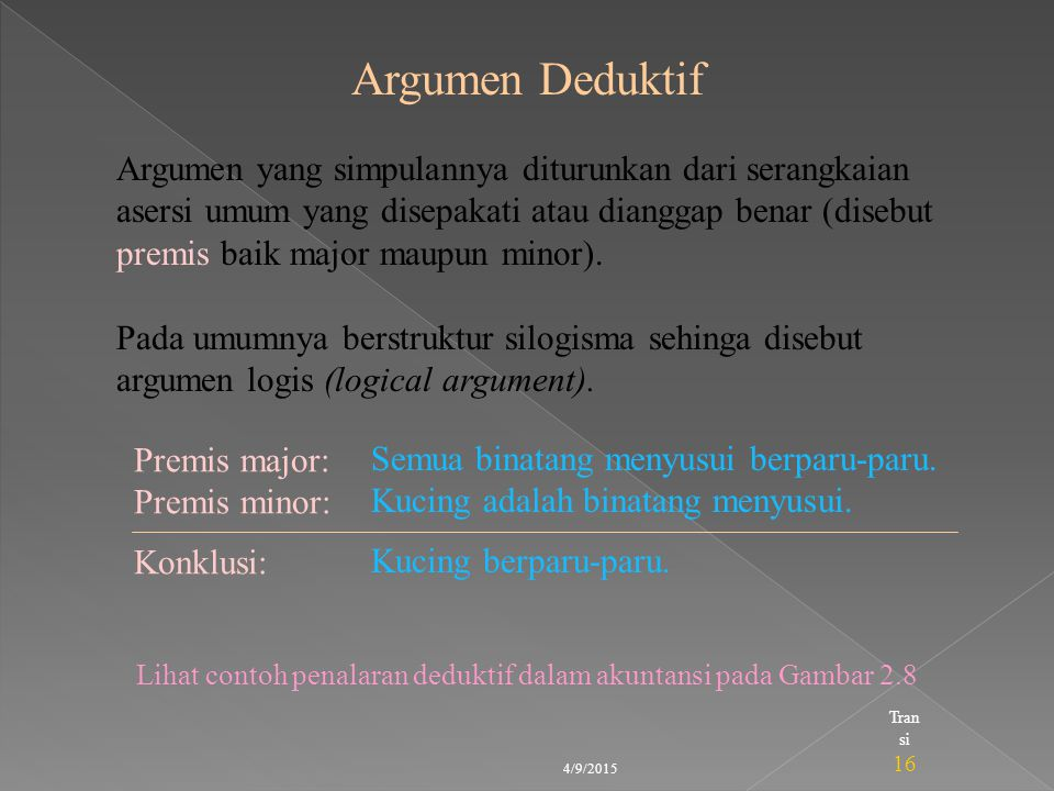 Lihat contoh penalaran deduktif dalam akuntansi pada Gambar 2.8