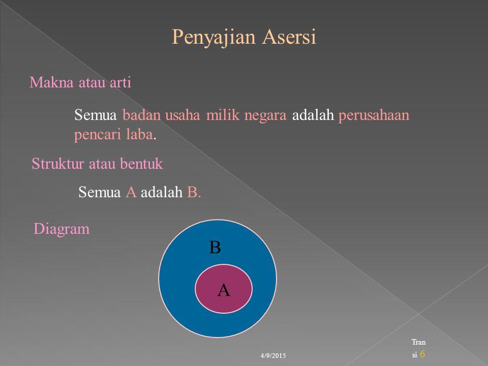 Penyajian Asersi B A Makna atau arti