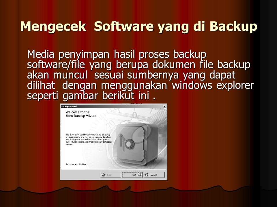 Mengecek Software yang di Backup