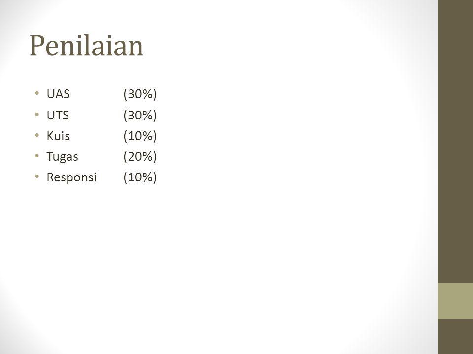 Penilaian UAS (30%) UTS (30%) Kuis (10%) Tugas (20%) Responsi (10%)