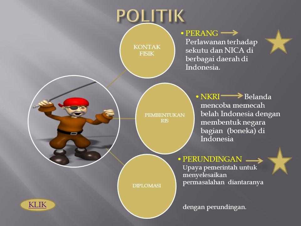 POLITIK KONTAK FISIK. PERANG Perlawanan terhadap sekutu dan NICA di berbagai daerah di Indonesia.