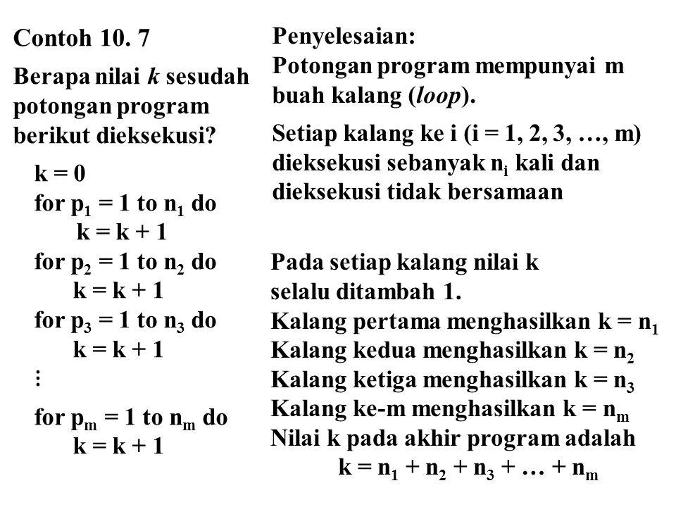 Contoh 10. 7 Berapa nilai k sesudah. potongan program. berikut dieksekusi k = 0. for p1 = 1 to n1 do.