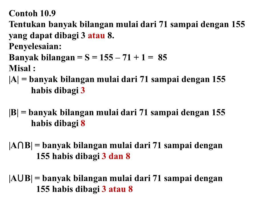 Contoh 10.9 Tentukan banyak bilangan mulai dari 71 sampai dengan 155 yang dapat dibagi 3 atau 8. Penyelesaian: