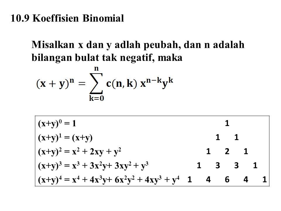 10.9 Koeffisien Binomial Misalkan x dan y adlah peubah, dan n adalah bilangan bulat tak negatif, maka.