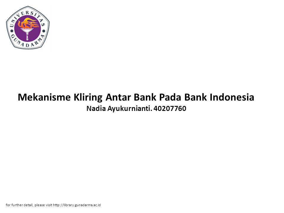 Mekanisme Kliring Antar Bank Pada Bank Indonesia Nadia Ayukurnianti