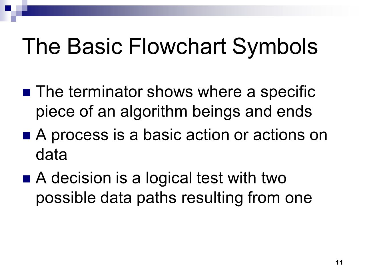 The Basic Flowchart Symbols