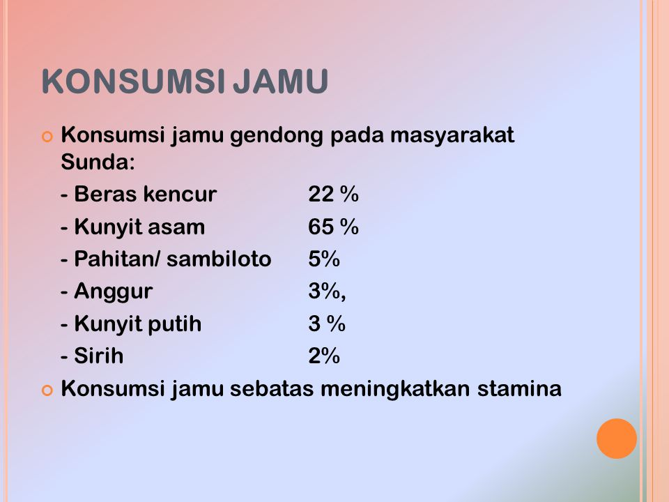 KONSUMSI JAMU Konsumsi jamu gendong pada masyarakat Sunda: