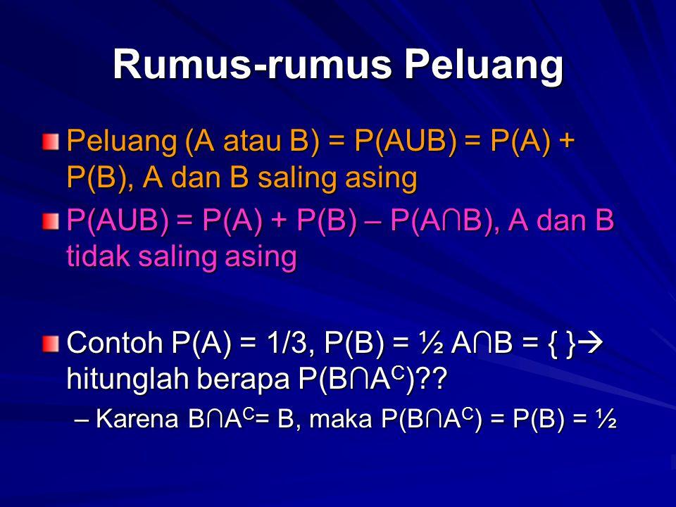 Rumus-rumus Peluang Peluang (A atau B) = P(AUB) = P(A) + P(B), A dan B saling asing. P(AUB) = P(A) + P(B) – P(A∩B), A dan B tidak saling asing.