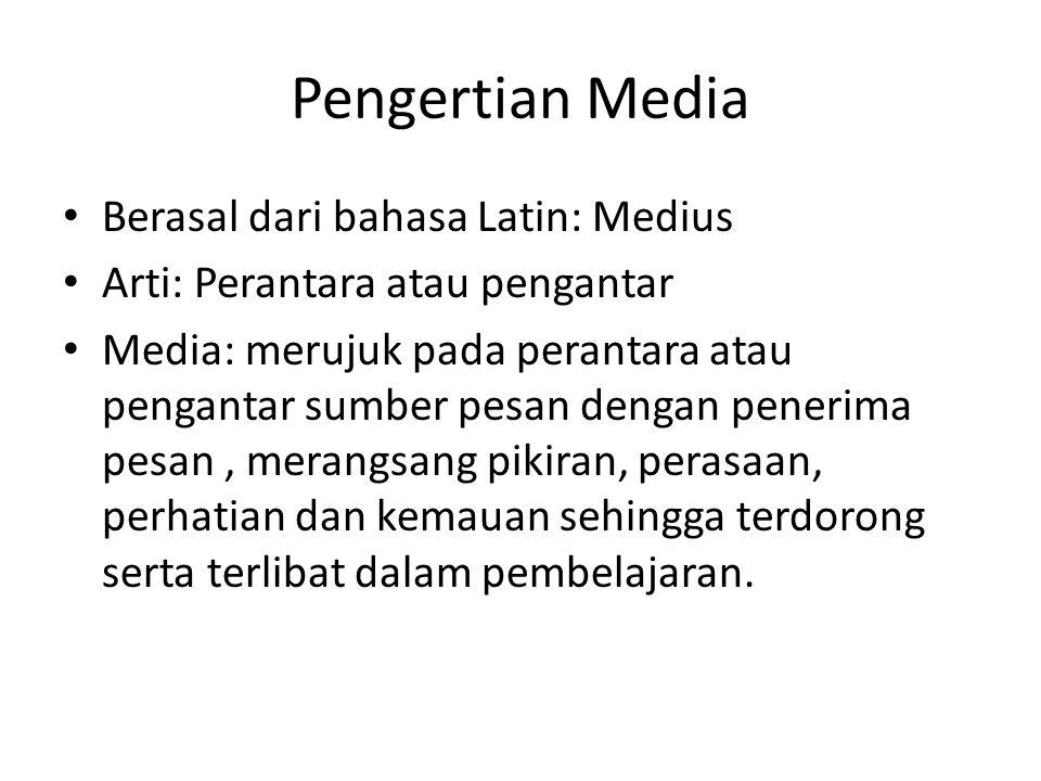 Pengertian Media Berasal dari bahasa Latin: Medius