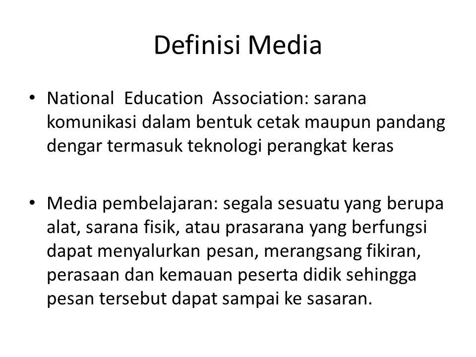 Definisi Media National Education Association: sarana komunikasi dalam bentuk cetak maupun pandang dengar termasuk teknologi perangkat keras.
