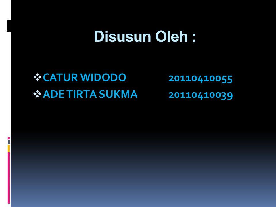 Disusun Oleh : CATUR WIDODO 20110410055 ADE TIRTA SUKMA 20110410039