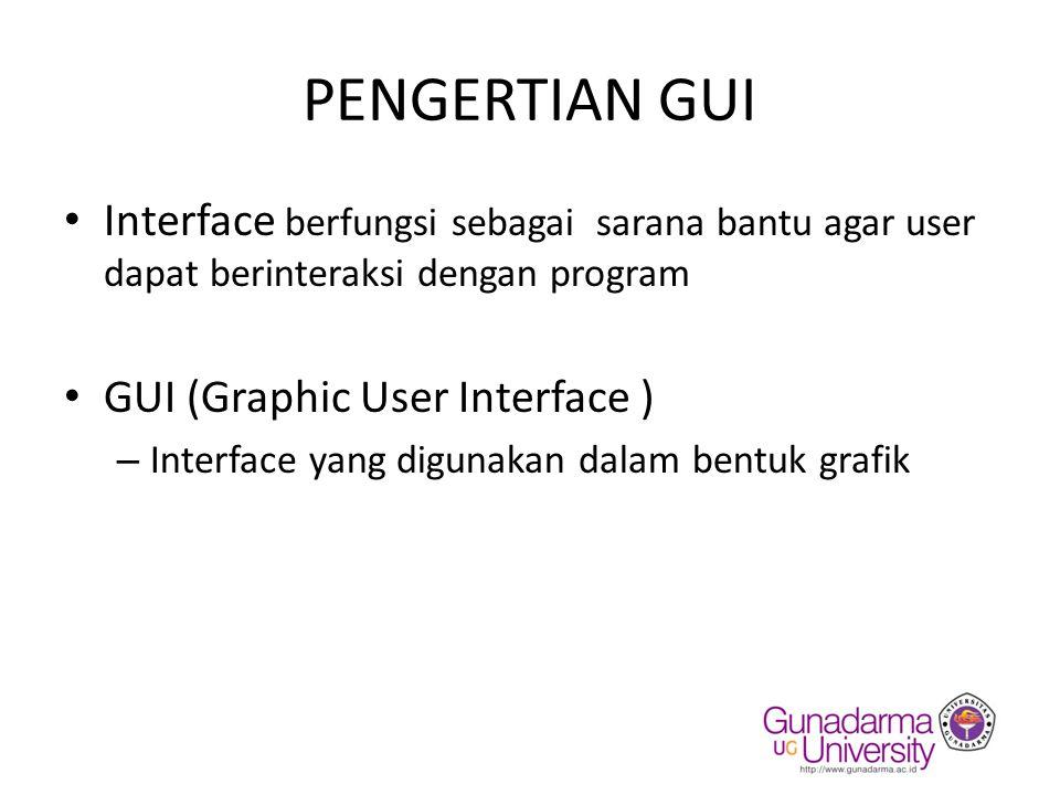 PENGERTIAN GUI Interface berfungsi sebagai sarana bantu agar user dapat berinteraksi dengan program.