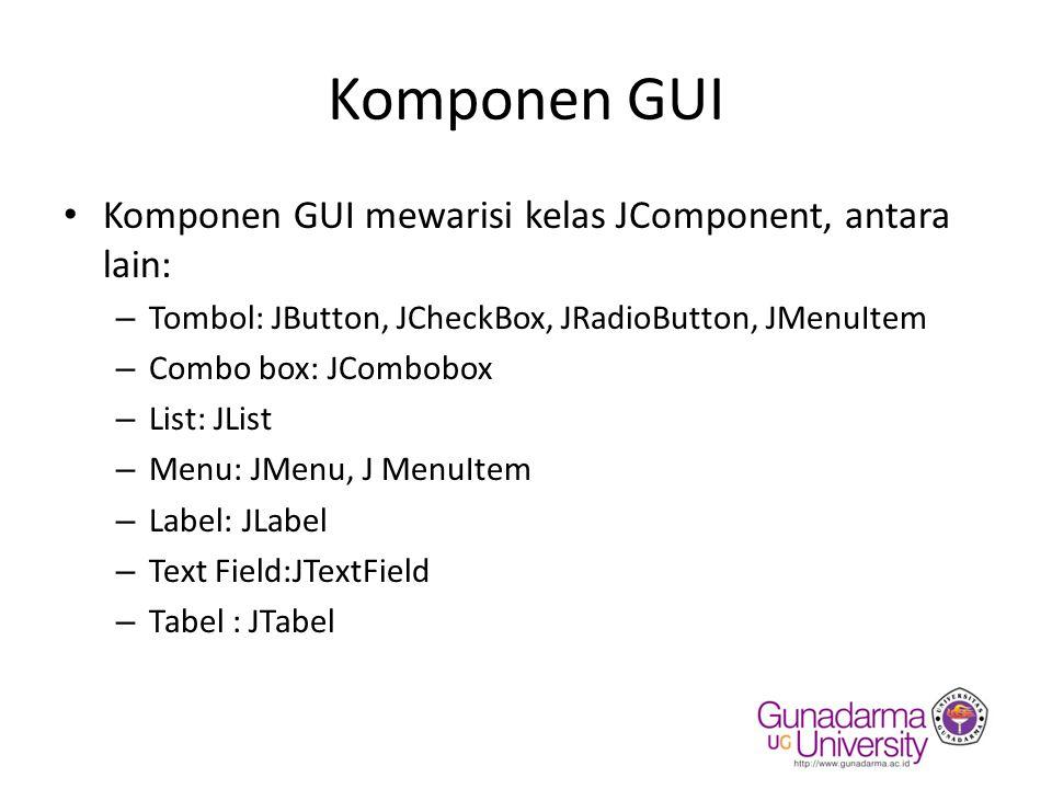 Komponen GUI Komponen GUI mewarisi kelas JComponent, antara lain: