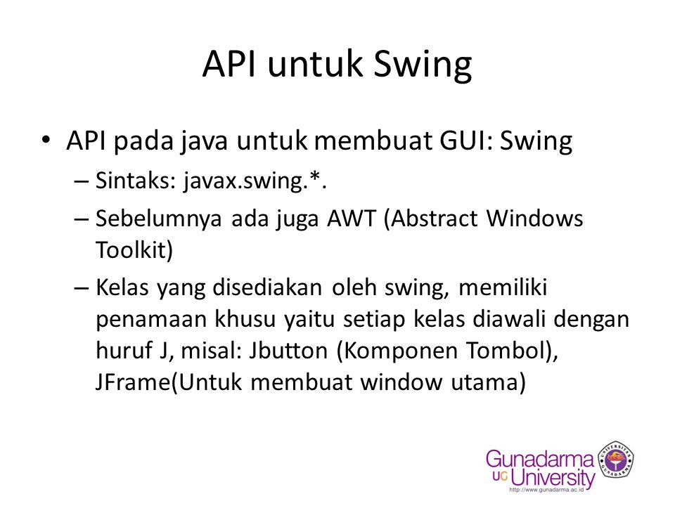 API untuk Swing API pada java untuk membuat GUI: Swing