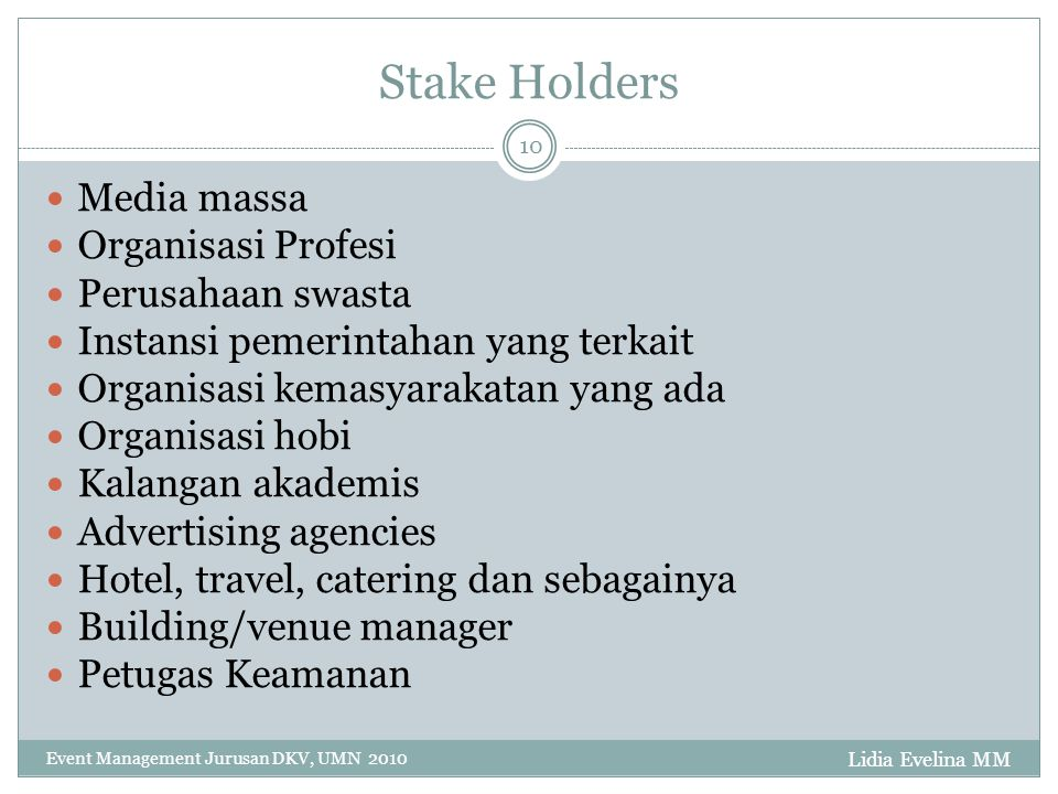 Stake Holders Media massa Organisasi Profesi Perusahaan swasta