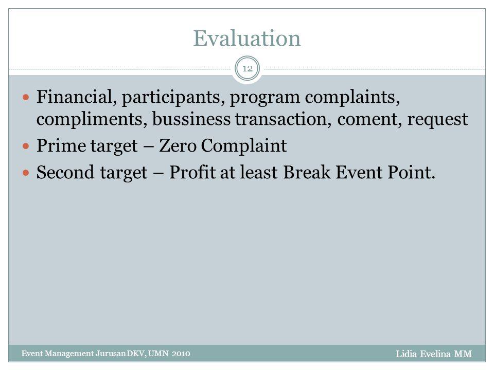 Evaluation Financial, participants, program complaints, compliments, bussiness transaction, coment, request.