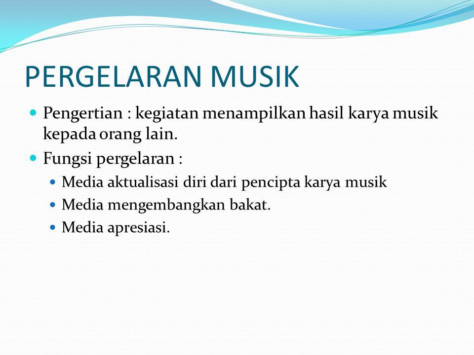 PERGELARAN MUSIK Pengertian : kegiatan menampilkan hasil karya musik kepada orang lain. Fungsi pergelaran :