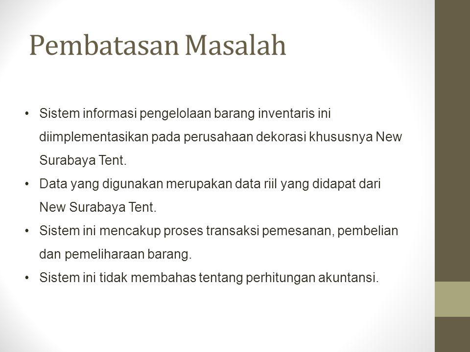 Pembatasan Masalah Sistem informasi pengelolaan barang inventaris ini diimplementasikan pada perusahaan dekorasi khususnya New Surabaya Tent.