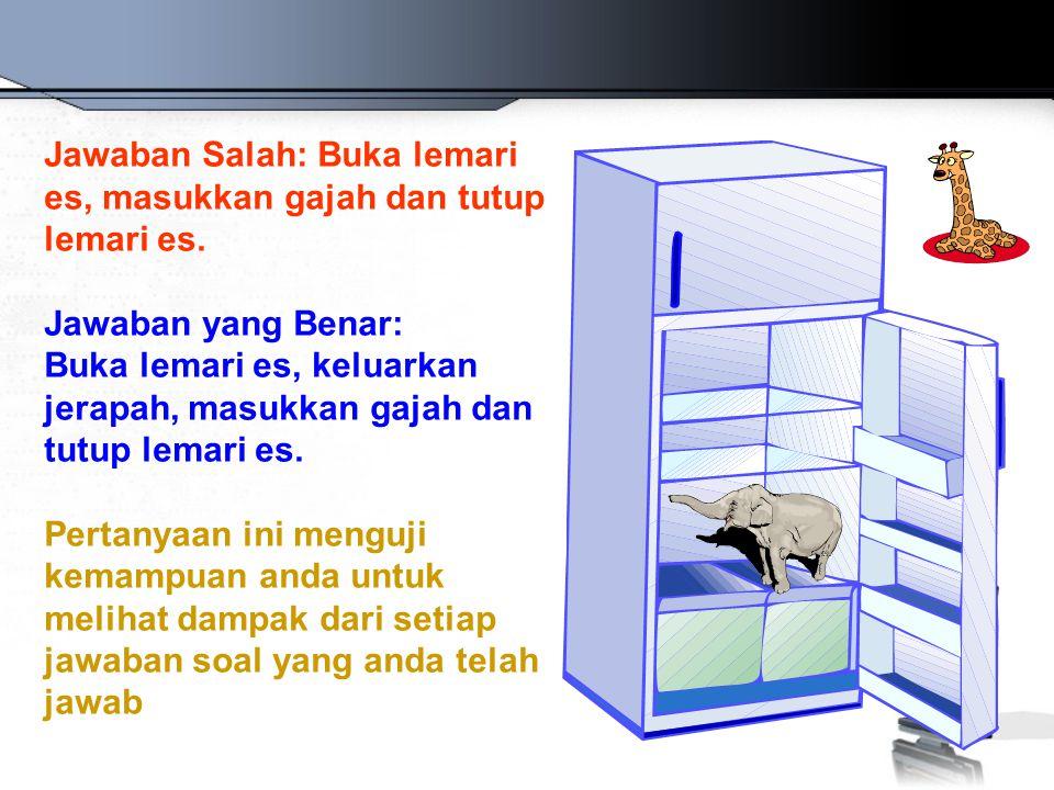 Jawaban Salah: Buka lemari es, masukkan gajah dan tutup lemari es.