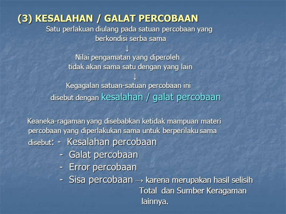 (3) KESALAHAN / GALAT PERCOBAAN