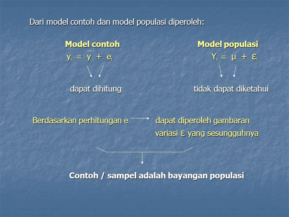 Dari model contoh dan model populasi diperoleh: