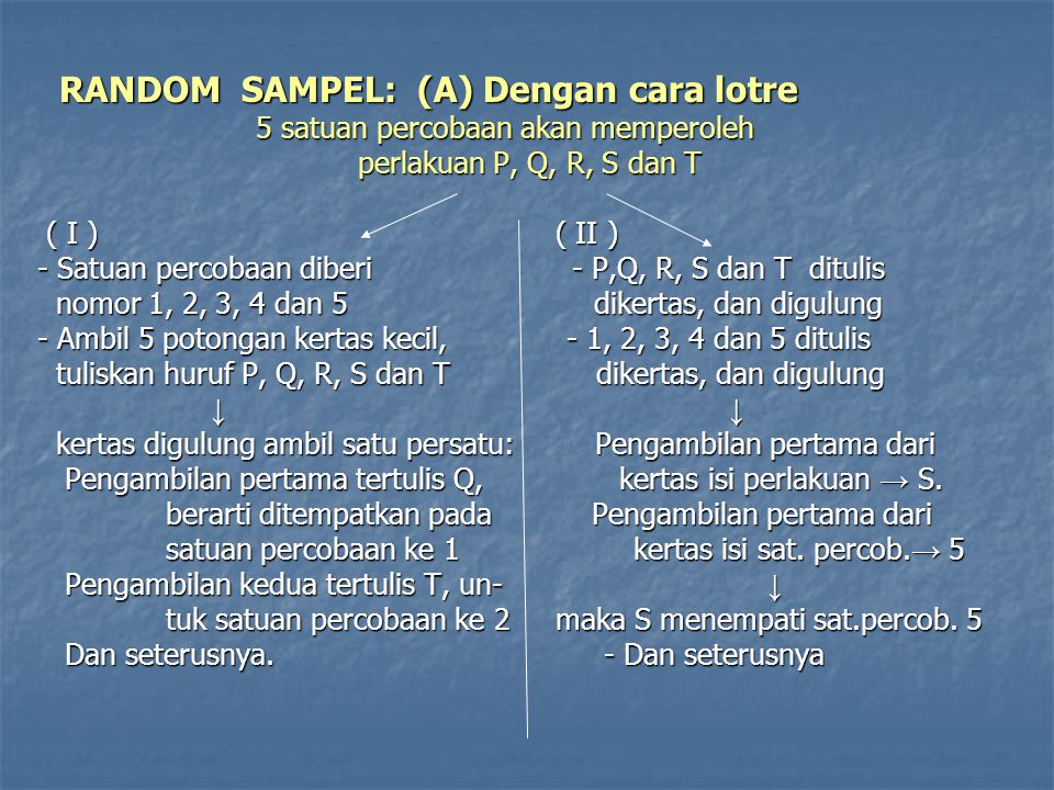 RANDOM SAMPEL: (A) Dengan cara lotre