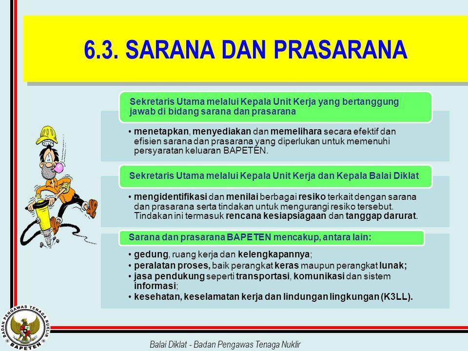 6.3. SARANA DAN PRASARANA Sekretaris Utama melalui Kepala Unit Kerja yang bertanggung jawab di bidang sarana dan prasarana.