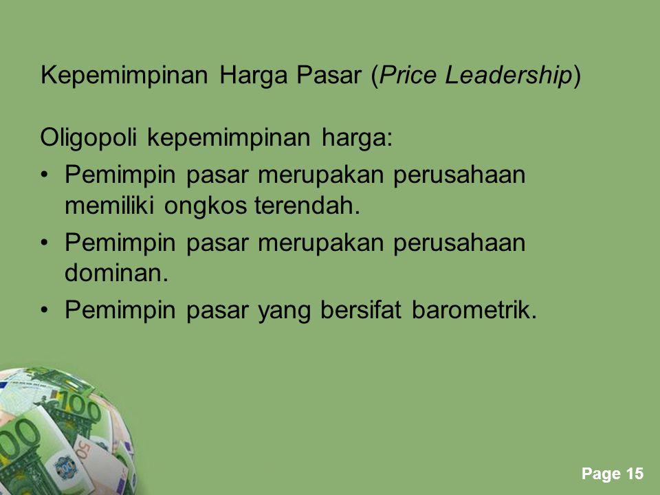 Kepemimpinan Harga Pasar (Price Leadership)
