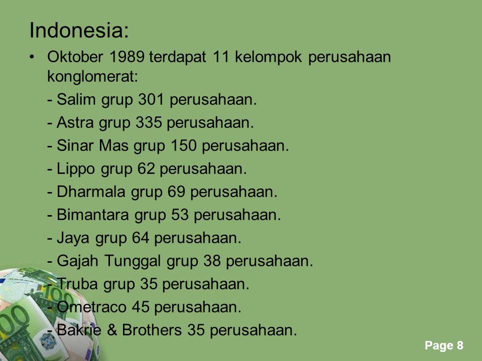 Indonesia: Oktober 1989 terdapat 11 kelompok perusahaan konglomerat: