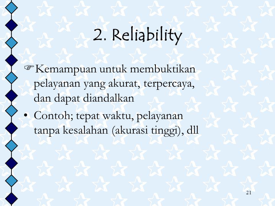 2. Reliability Kemampuan untuk membuktikan pelayanan yang akurat, terpercaya, dan dapat diandalkan.
