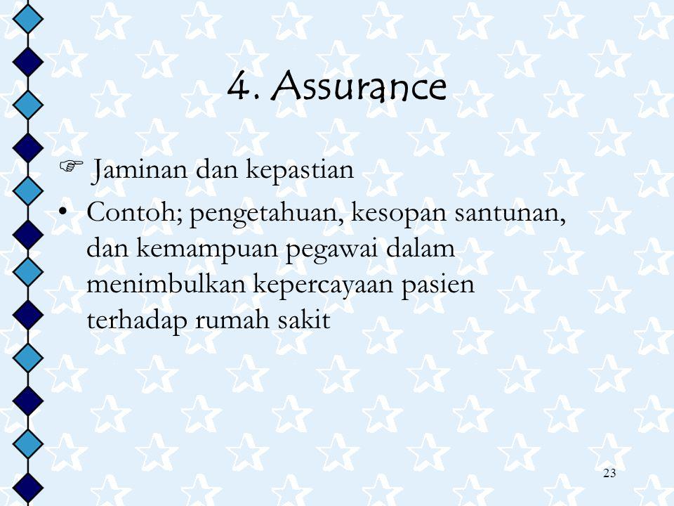 4. Assurance  Jaminan dan kepastian