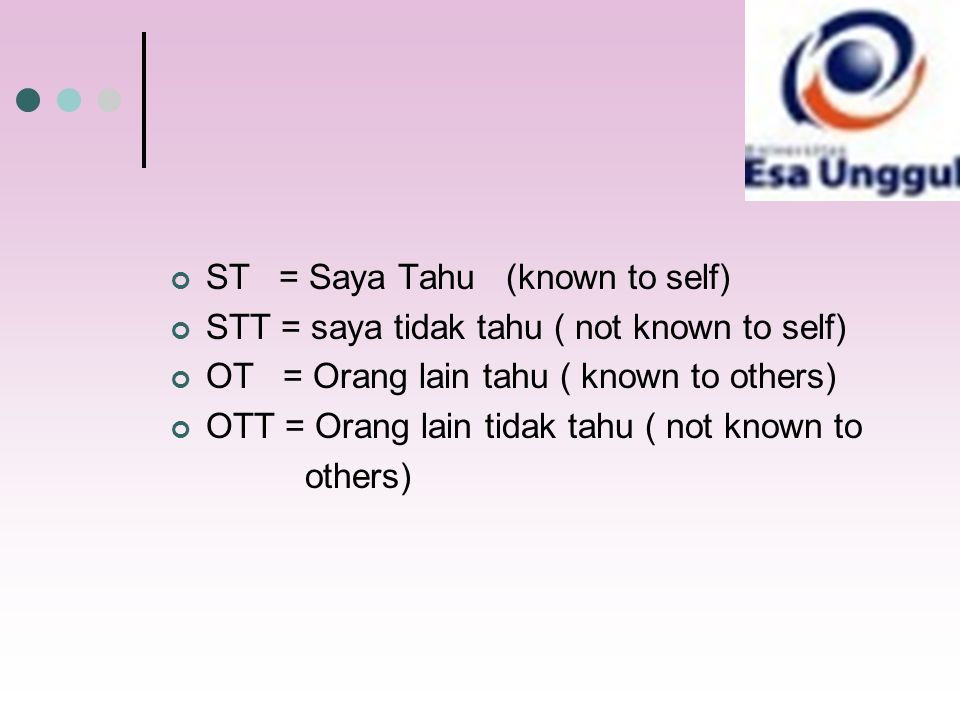 ST = Saya Tahu (known to self)