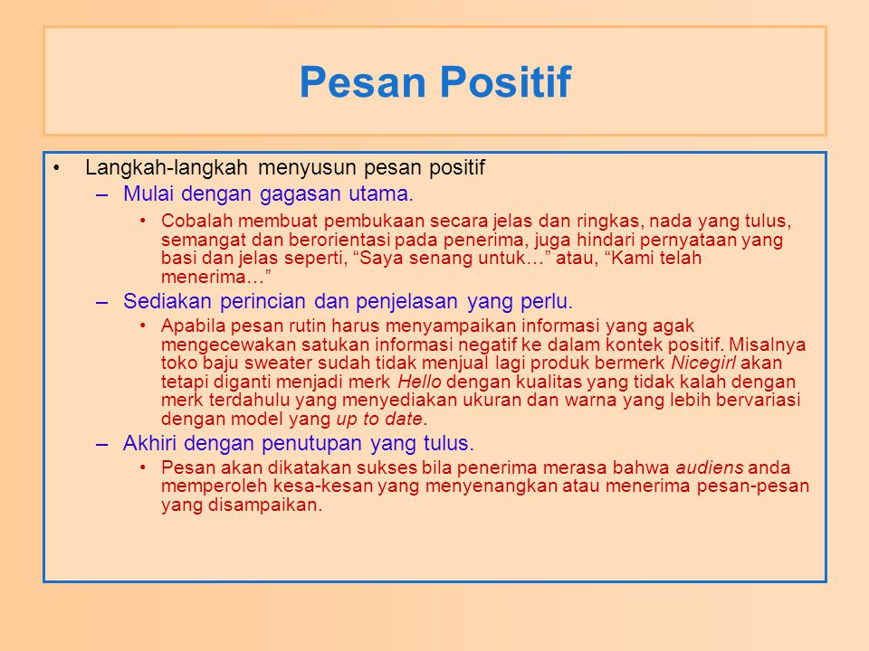 Pesan Positif Langkah-langkah menyusun pesan positif